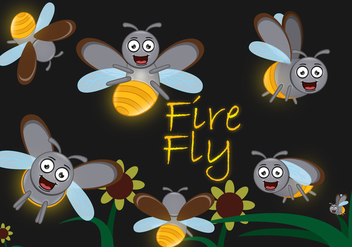 Cute Cartoon Firefly - Free vector #374271
