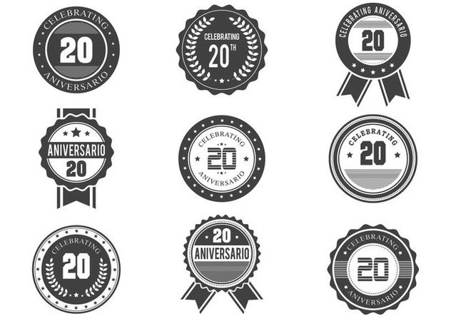 Free Anniversario Retro Badges Design - vector gratuit #374501
