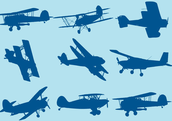 Biplane Silhouettes - Free vector #374961