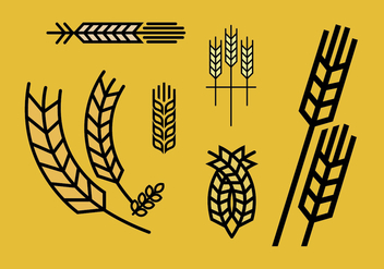 Wheat stalk vector set 2 - vector gratuit #375111