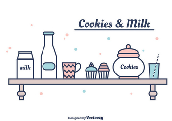 Cookies And Milk Vector - бесплатный vector #375341
