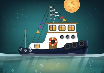 Tugboat Seascape Vector - Free vector #375411