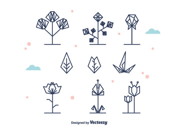 Geometrical Flowers and Leaf Vector - vector gratuit #375711
