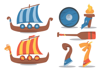 Viking Ship Vector Set - Free vector #375771