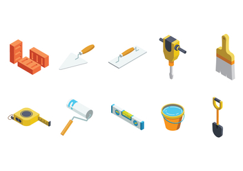 Free Isometric Bricklayer Vector - Free vector #376301