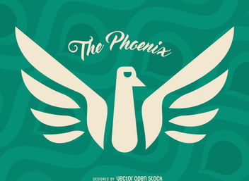 Phoenix myth bird label - Free vector #376731