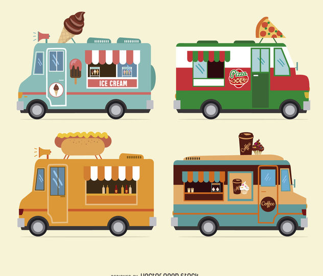 Food truck design collection - vector #377071 gratis