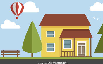 Classic house illustration - Free vector #377081