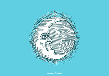 MOON - LINE DRAWING - vector #377241 gratis