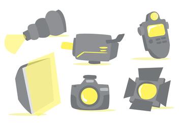 Photo Studio Tools Vector Set - Kostenloses vector #377441
