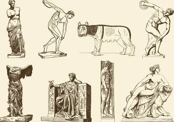 Ancient Sculptures - vector gratuit #377531