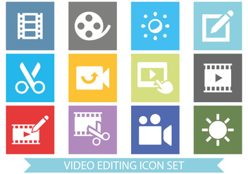 Flat Style Video Editing Icon Set - Kostenloses vector #377751