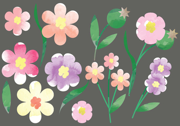 Vector Watercolor Flowers - Free vector #378751