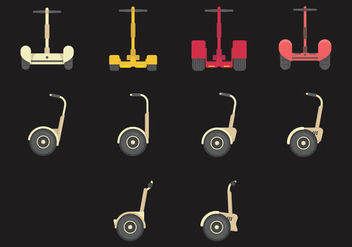 Segway Flat Icon Set - Free vector #379421