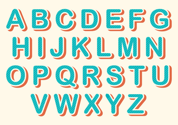 Free Rounded Retro Alphabet Vector - бесплатный vector #379571