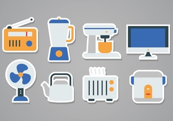 Free Home Appliances Sticker Icon Set - Kostenloses vector #379711