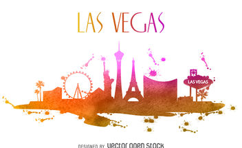 Las Vegas watercolor skyline - Free vector #380031