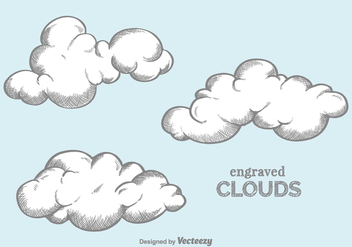 Free Vector Engraved Clouds - Free vector #380441