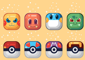 Pokemon Vector Icons - vector gratuit #380631