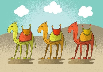 Happy Camel Vector Characters - Free vector #380751