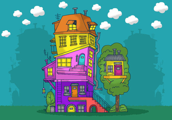 Stacked House Vector - vector gratuit #380871