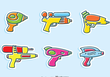 Wter Gun Cartoon Vector Set - Free vector #380911