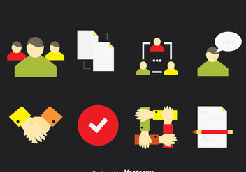 Working Together Icons Vector - vector gratuit #380961