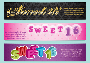 Sweet 16 Banners - Free vector #381031