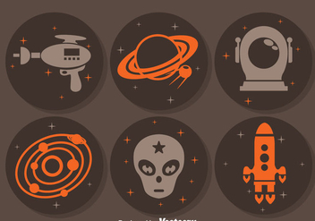 Alien Space Circle Icons - Free vector #381061