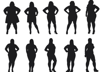 Fat Women Silhouettes Vector - Free vector #381191