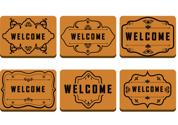 Brown Welcome Mat - Free vector #381211