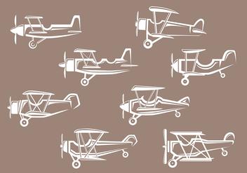 Biplane icons - Free vector #381411