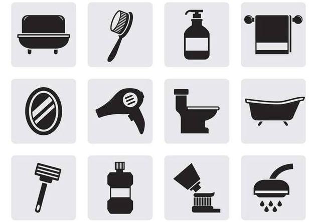 Free Bathroom Icons Vector - Free vector #381681