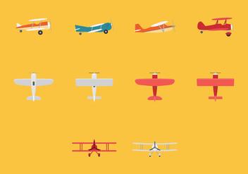 Biplane Icon Set - Free vector #381721