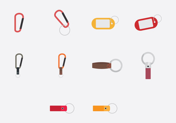 Key Chains Template Icon Set - vector gratuit #382081