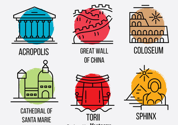 World Landmark Vector Set - Kostenloses vector #382141