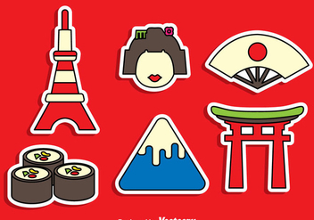 Japanese Sticker Vector Set - Free vector #382151