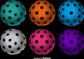 Vector Colorful Floorball balls set - vector gratuit #382221