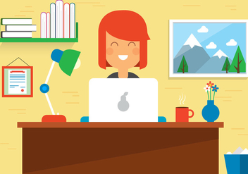 Free Woman Work Space Vector Desk - Free vector #382701