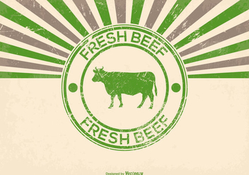 Grunge Fresh Beef Illustration - бесплатный vector #382941