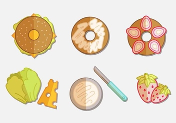 Bagel Flat Icon Set - vector gratuit(e) #382961