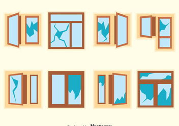 Broken Window Vector Set - Free vector #383611