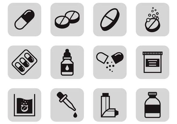 Free Drugs and Medicine Icons Vector - vector gratuit #383811