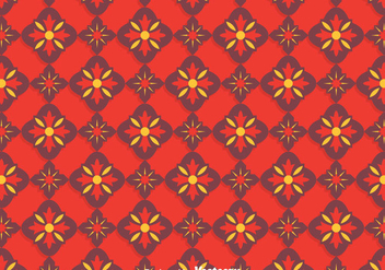 Red Traditional Ornament Tiles Pattern - Free vector #383971