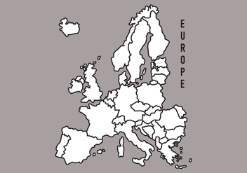 Black and White Europe Map - vector gratuit(e) #384231