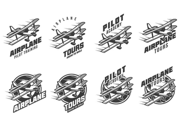 Free Biplane Vintage Logo - Free vector #384551