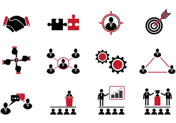 Set Of Working Together Icons - vector gratuit #384751