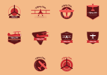 Biplane Vintage Logo Set - Kostenloses vector #384791