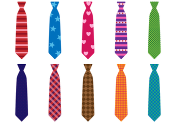Free Set of Colorful Tie Vector - Free vector #385361