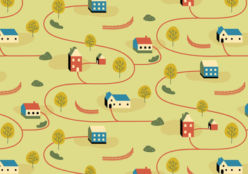 Village Illustration Pattern - vector gratuit #385461